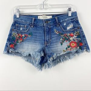 ABERCROMBIE & FITCH A&F Denim Floral Embroidered Jean Shorts Cutoff Size 0 25